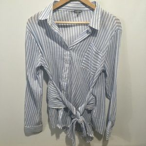Charlotte Russe button front striped top. Medium